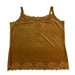 Coldwater Creek XL Crushed Velvet Gold Cami Top